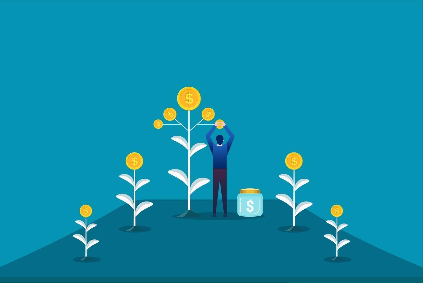 agriculteur plantant un arbre à argent et ramassant des dollars. illustration vectorielle de profit financier croissance. retour sur investissement vecteur