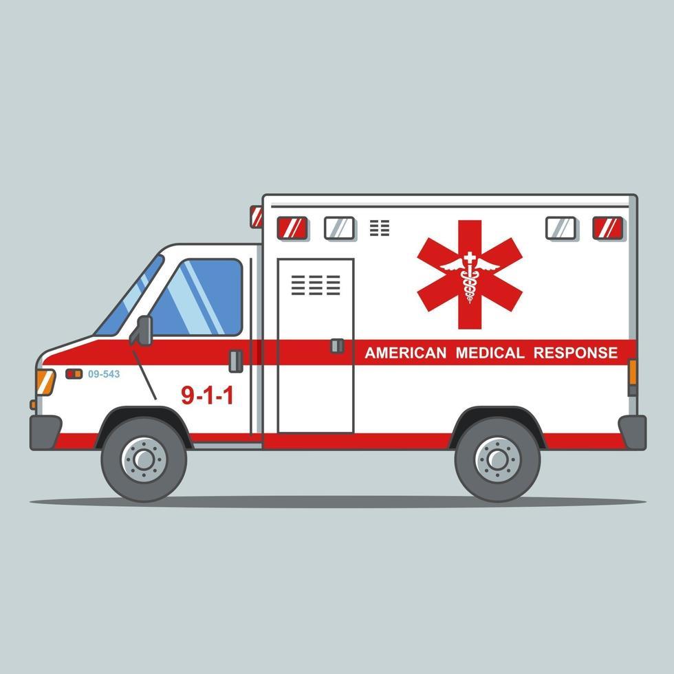 ambulance américaine sur fond gris. illustration vectorielle plane. vecteur