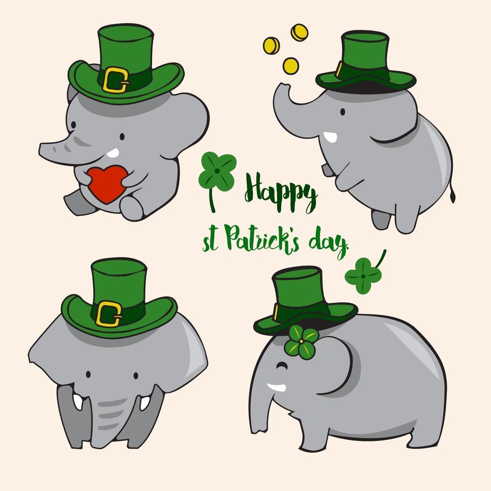 vecteur d'illustration éléphant mignon. isolé sur fond blanc.