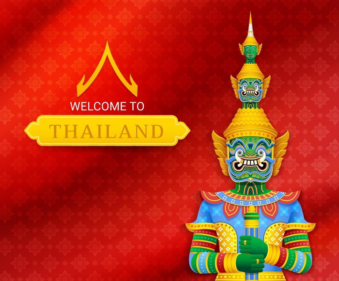 illustrations vectorielles géantes de gardien de temple thaïlandais vecteur