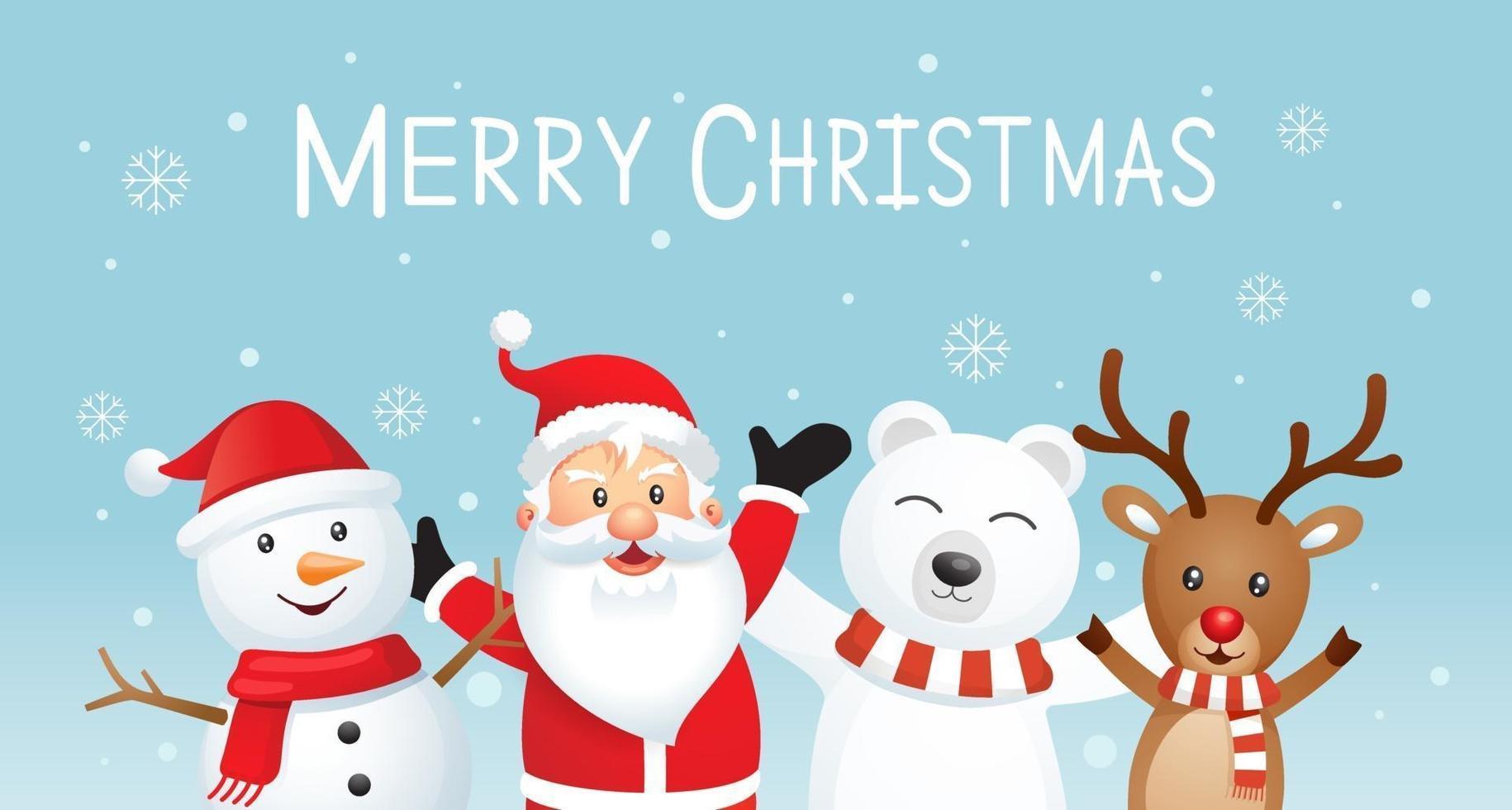 joyeux noël et bonne année fond. père noël et amis sur illustration vectorielle de couleur bleue. vecteur