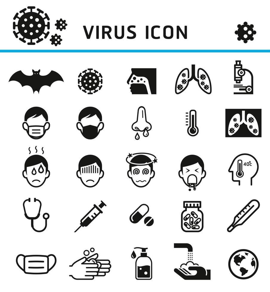 illustration vectorielle de virus infection icônes. vecteur