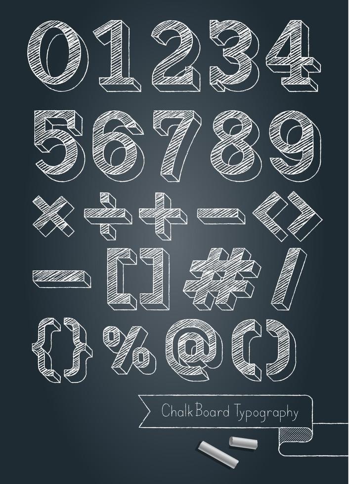 numéros de typographie tableau noir et symboles illustration vectorielle de style doodle. vecteur