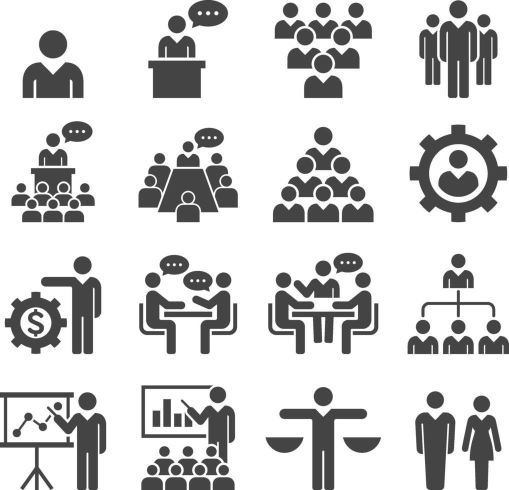 groupe d'icônes de gens d'affaires. illustrations vectorielles. vecteur