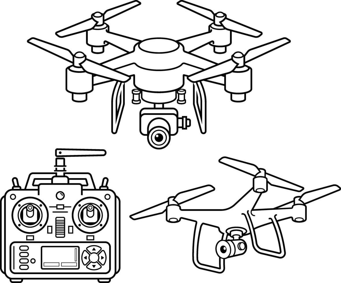 jeu d'icônes de ligne silhouette drone. illustration vectorielle. vecteur