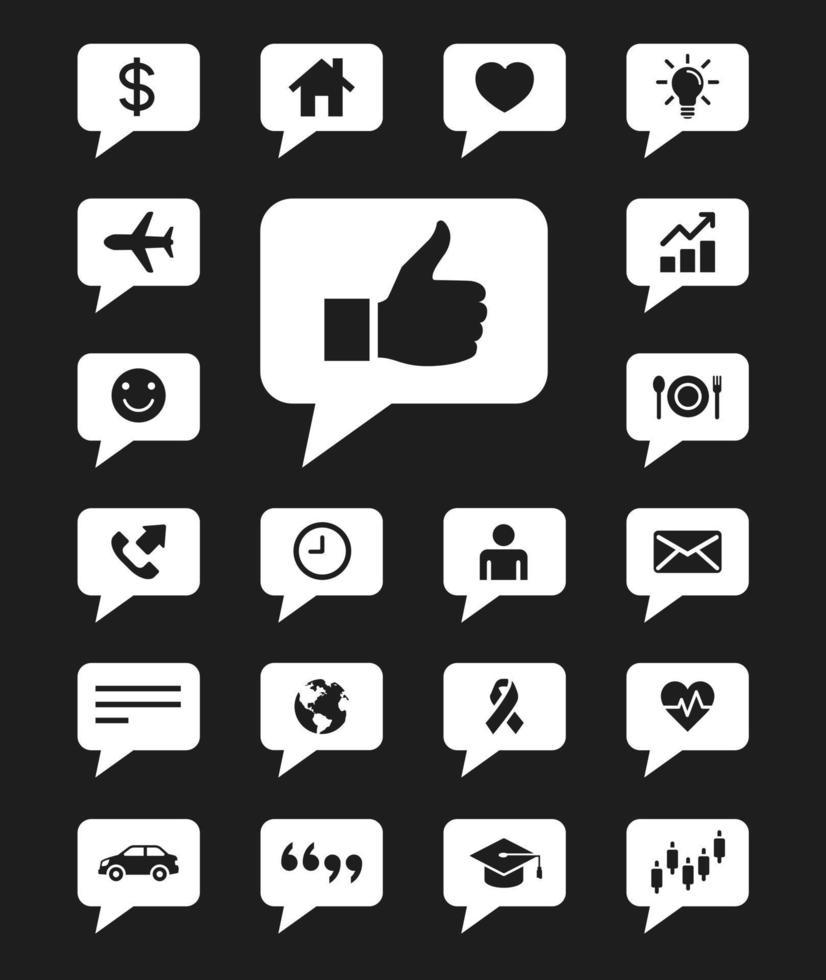 jeu d'icônes de bulles. illustrations vectorielles. vecteur