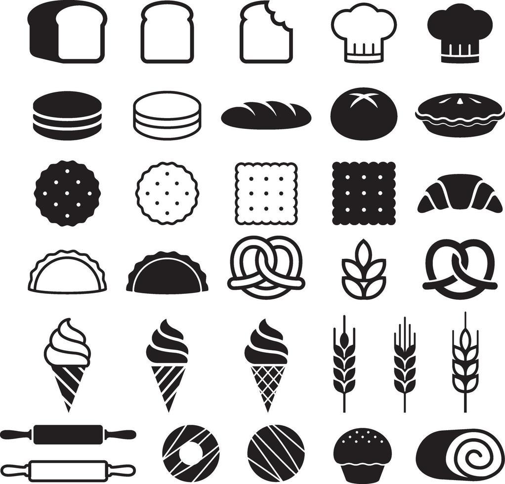 jeu d'icônes de gâteaux de boulangerie. illustration vectorielle. vecteur