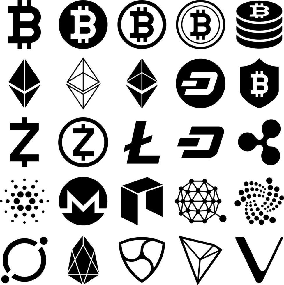 icônes de crypto-monnaie. illustrations vectorielles. vecteur