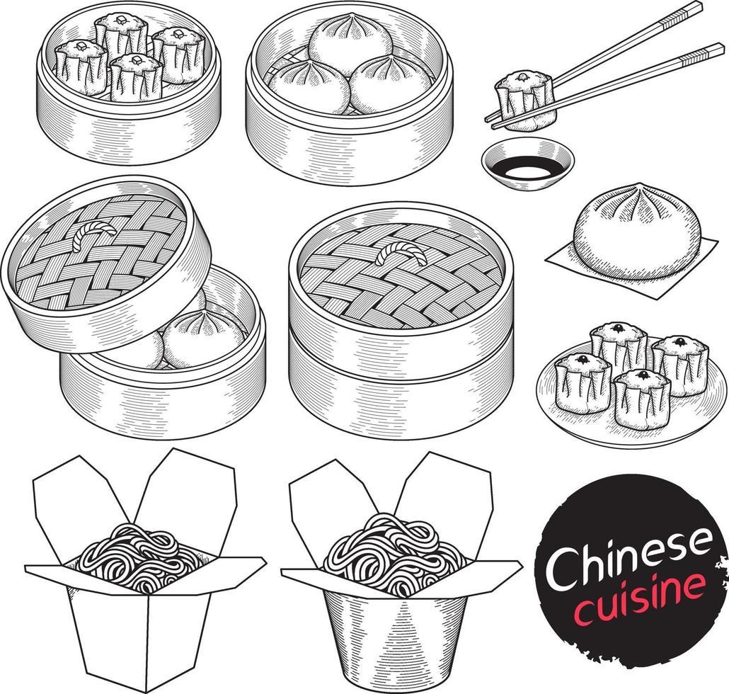 cuisine chinoise éléments de doodle alimentaire style dessiné à la main. illustrations vectorielles. vecteur