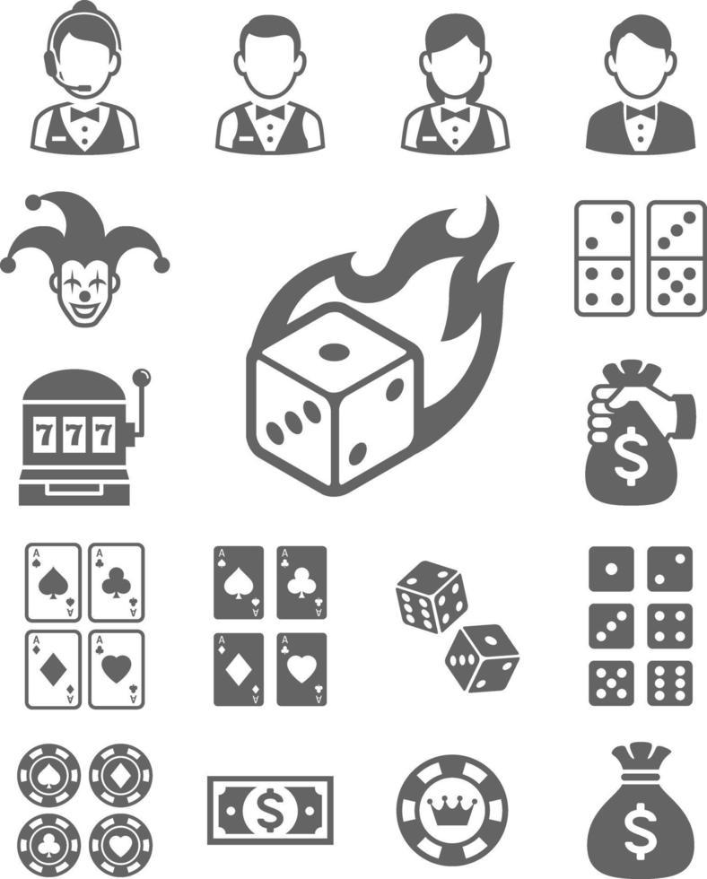 icônes de casino. illustrations vectorielles. vecteur