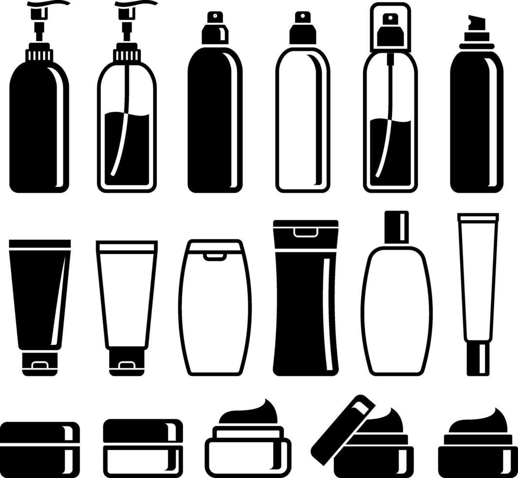 ensemble de bouteilles de cosmétiques. illustrations vectorielles. vecteur