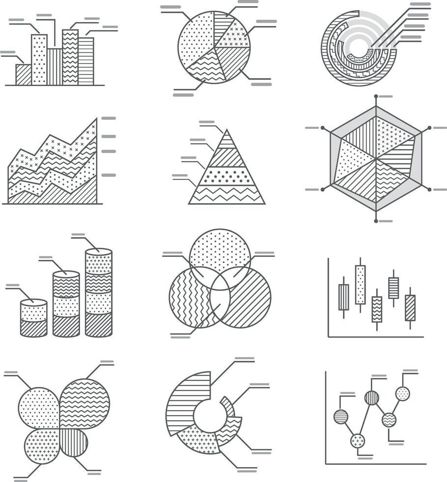 ensemble d'icônes de diagrammes de graphiques commerciaux. illustration vectorielle. vecteur