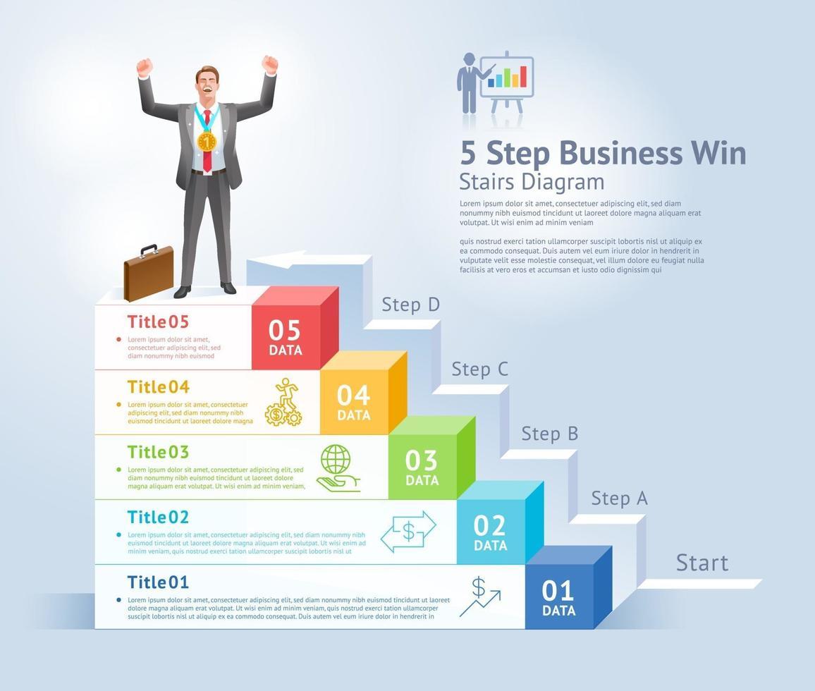 5 étapes pour gagner le concept d'entreprise. homme d & # 39; affaires debout avec les bras levés sur le dessus de l & # 39; infographie. vecteur