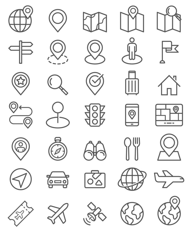 jeu d'icônes de ligne de pointeur de navigateur. illustrations vectorielles. vecteur