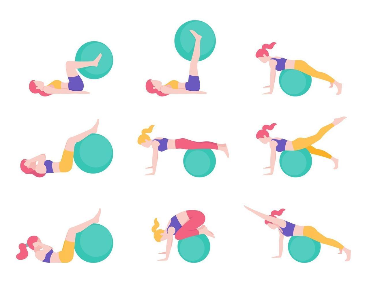 illustrations vectorielles de posture d'entraînement de ballon d'exercice de fitness pour femmes. vecteur