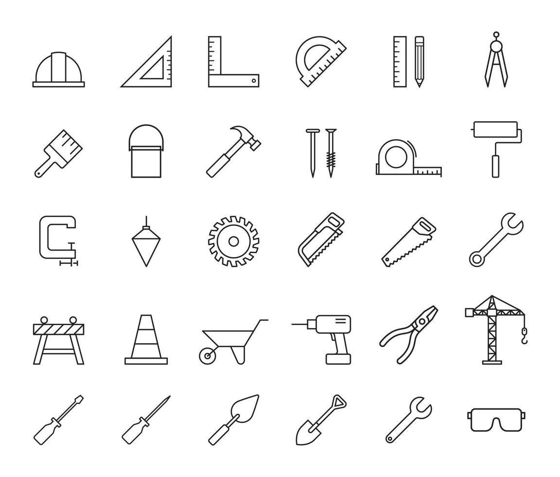 construction immobilier services icônes illustrations vectorielles. vecteur