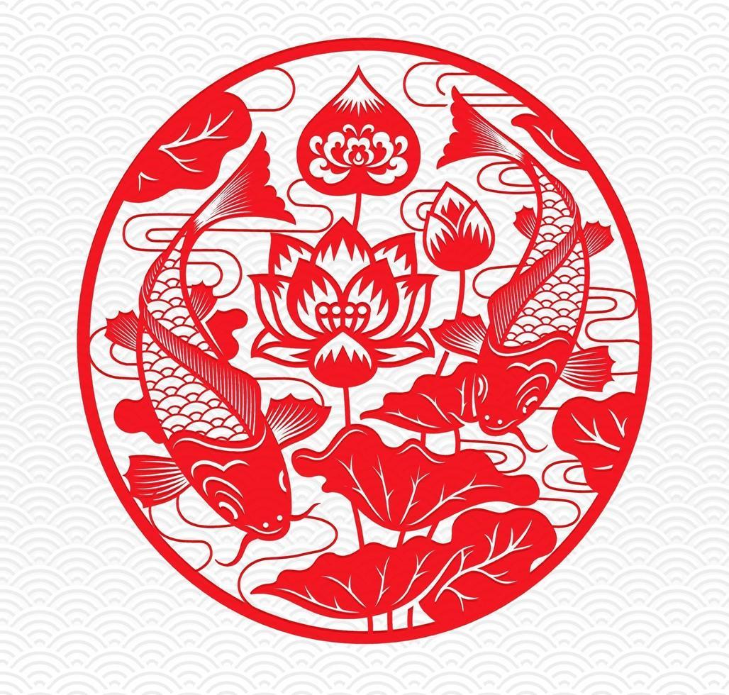 poisson et emblème de cercle rouge design floral vecteur