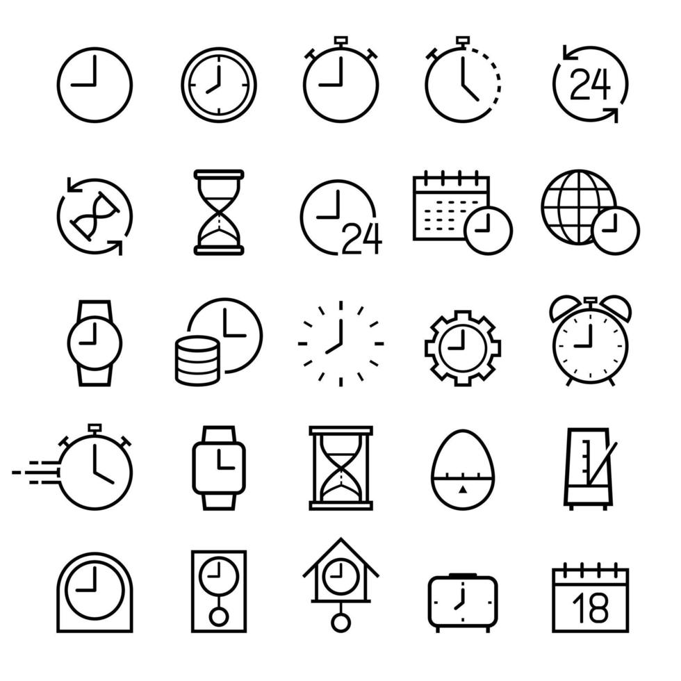 jeu d'icônes de ligne d'horloge. illustrations vectorielles. vecteur