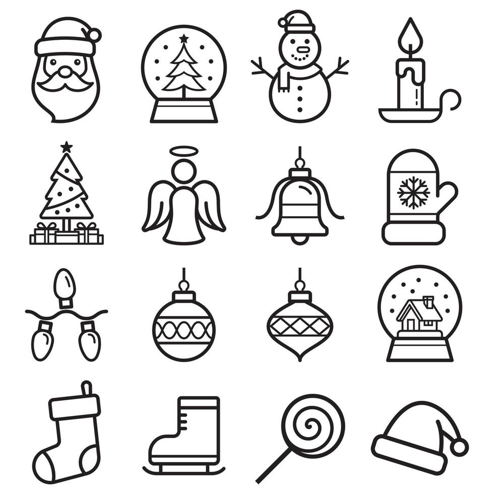 jeu d'icônes de Noël. illustrations vectorielles. vecteur