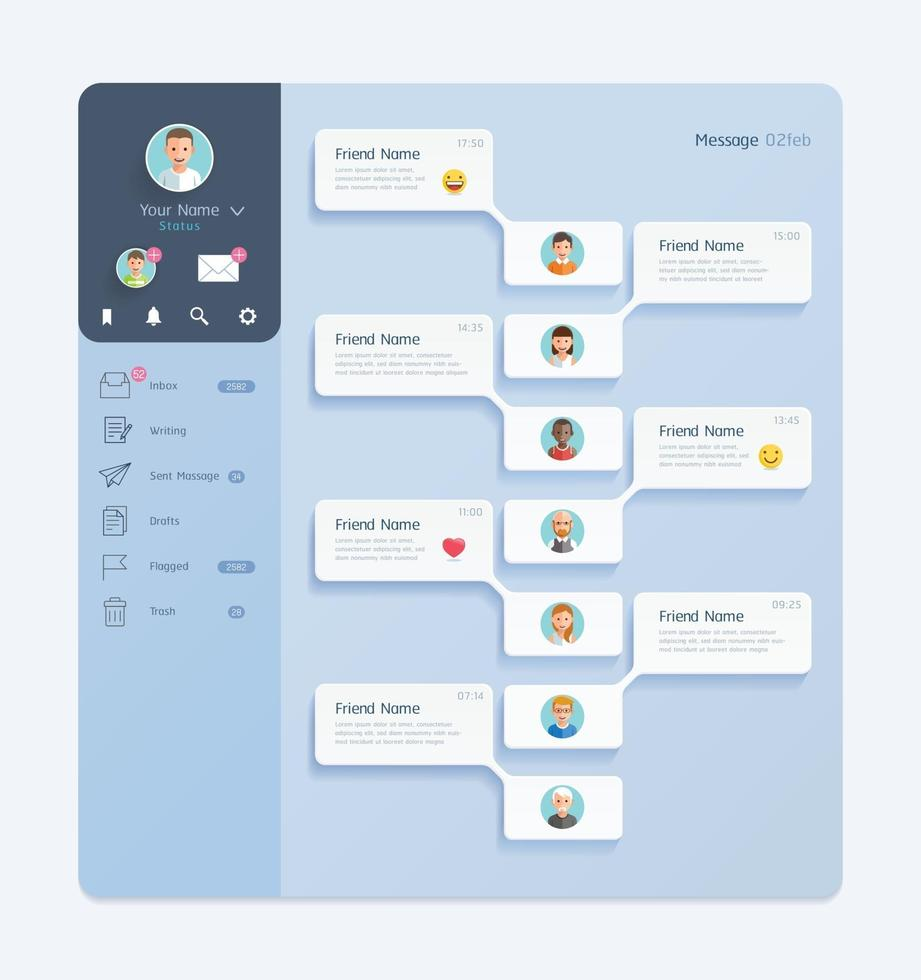 interface de chat messager avec fond de fenêtre de dialogue concept de design d'interface utilisateur mobile. vecteur