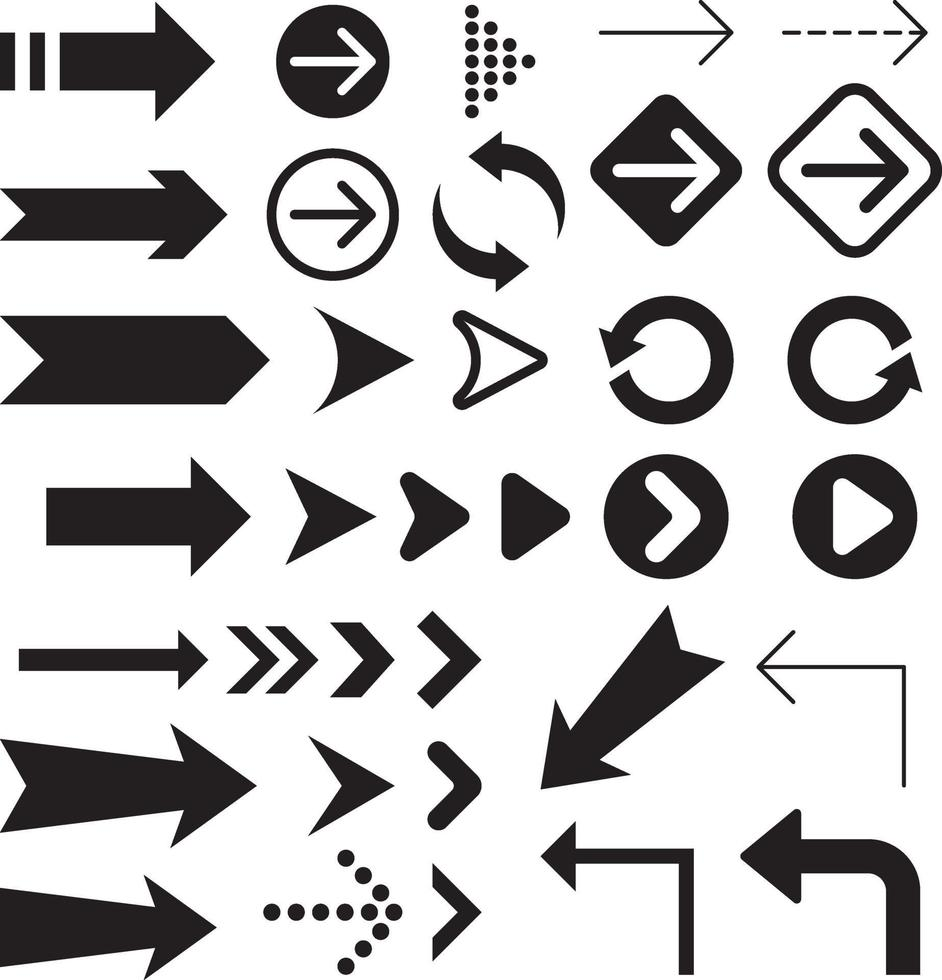 collection de symboles d'icônes de flèche. vecteur