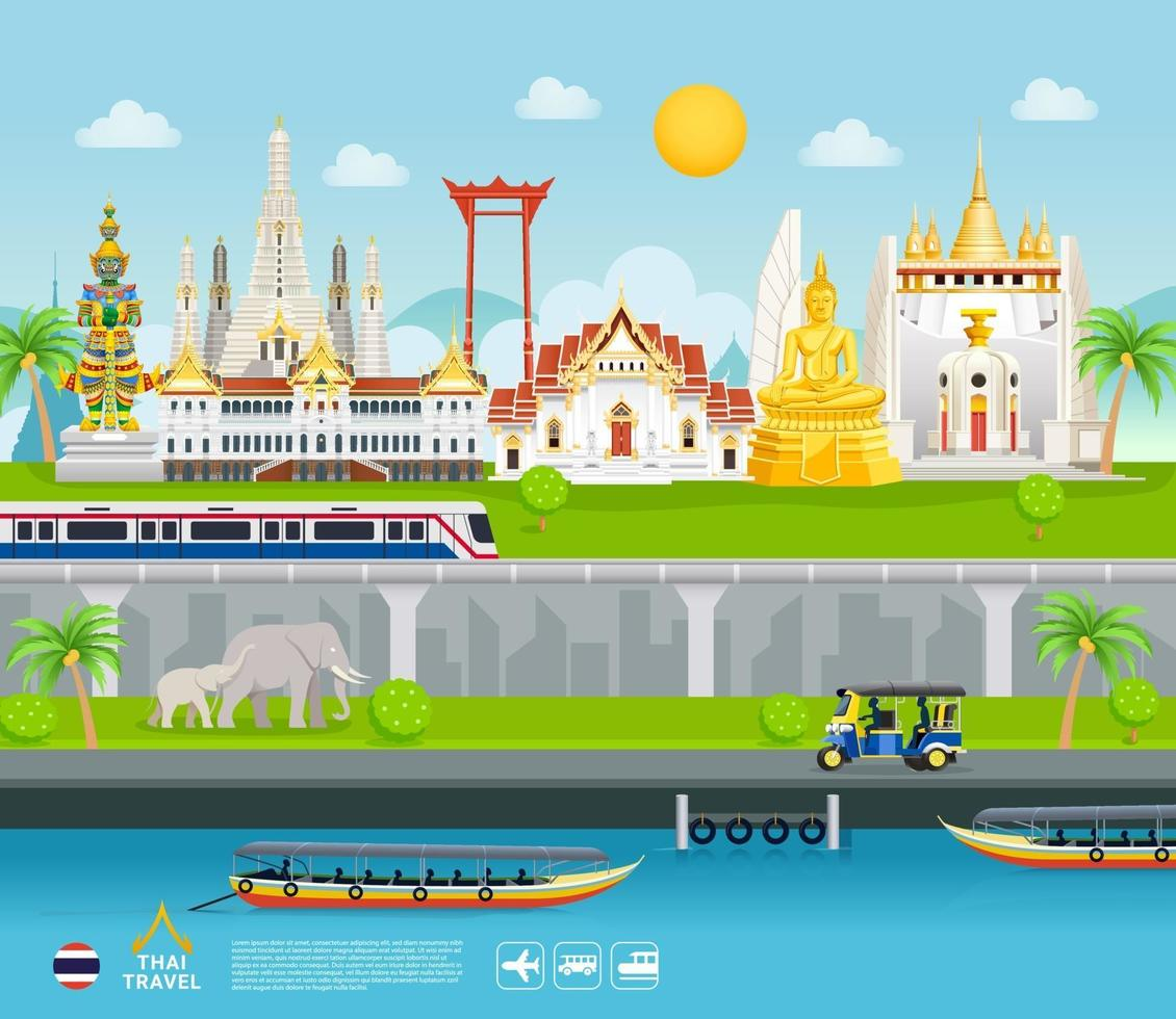Thaïlande monuments célèbres voyage bannière beaux endroits fond de style plat. vecteur