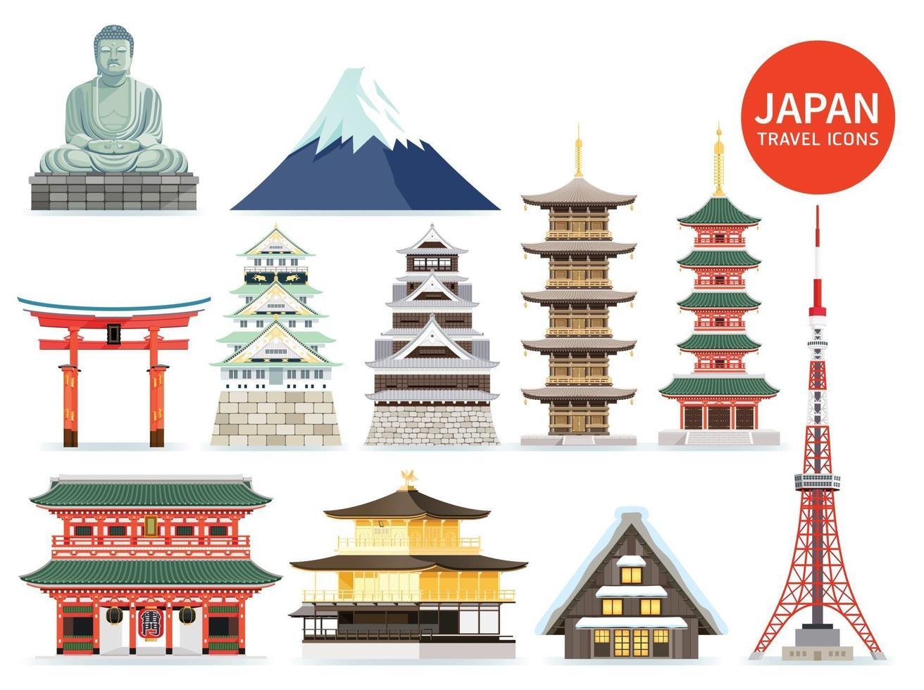 icônes de monuments célèbres du Japon. illustrations vectorielles. vecteur