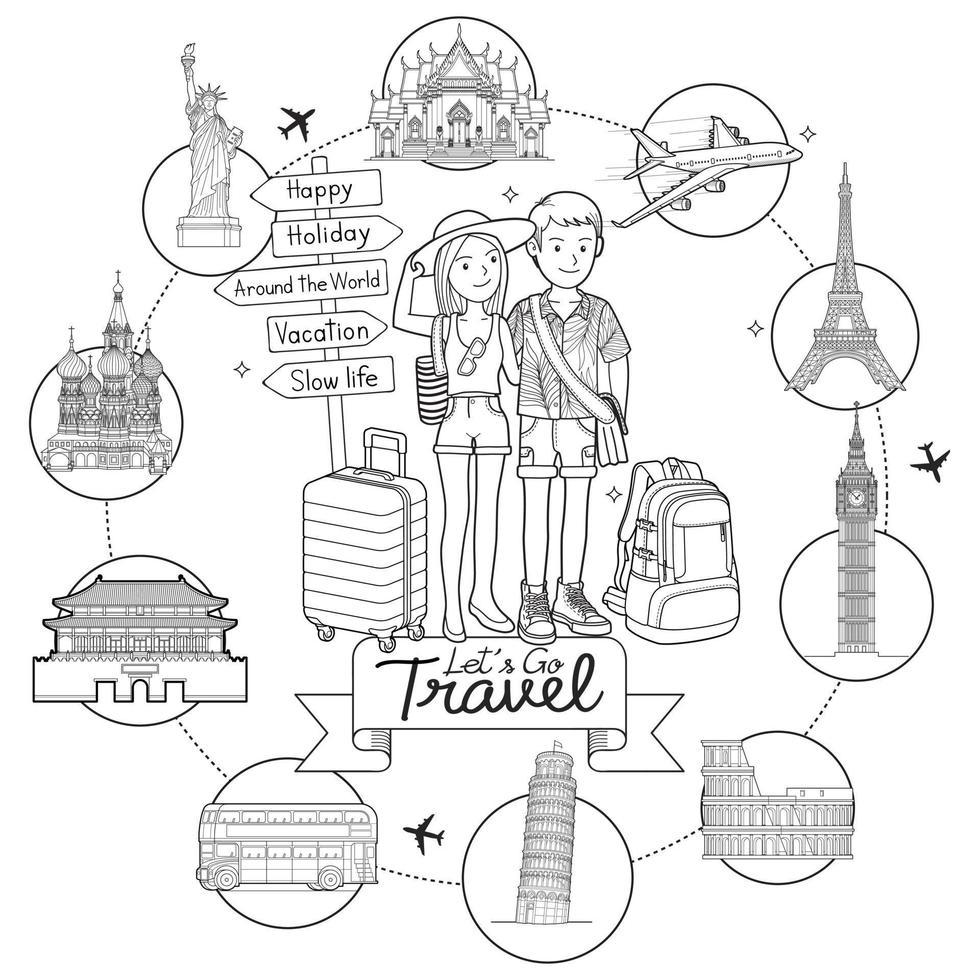 deux personnes hommes et femmes vont voyager autour du monde célèbre art doodle repère main dessin croquis illustrations vectorielles de style. vecteur