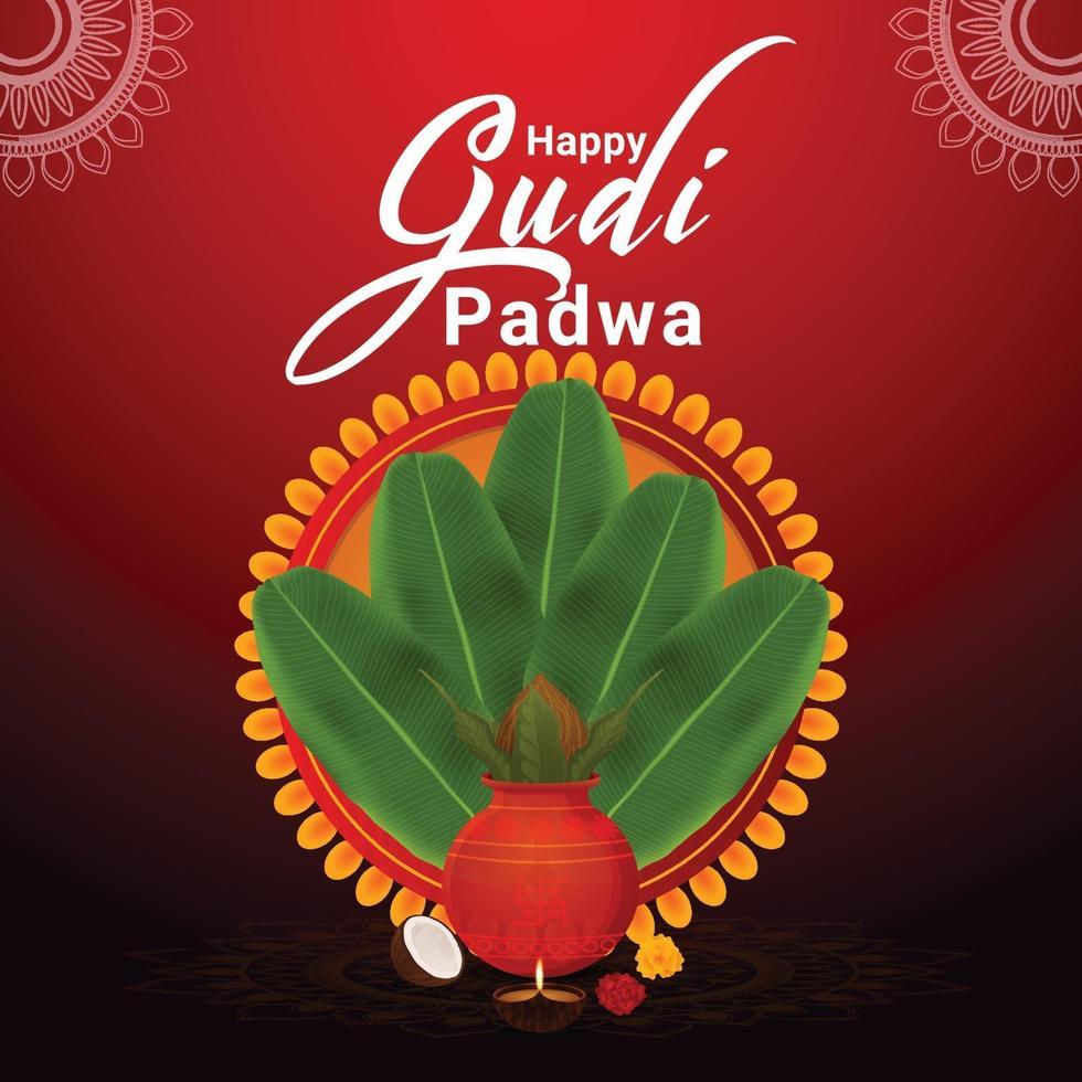 fond créatif de la célébration de gudi padwa vecteur