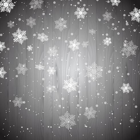 Flocons de neige de Noël sur bois vecteur