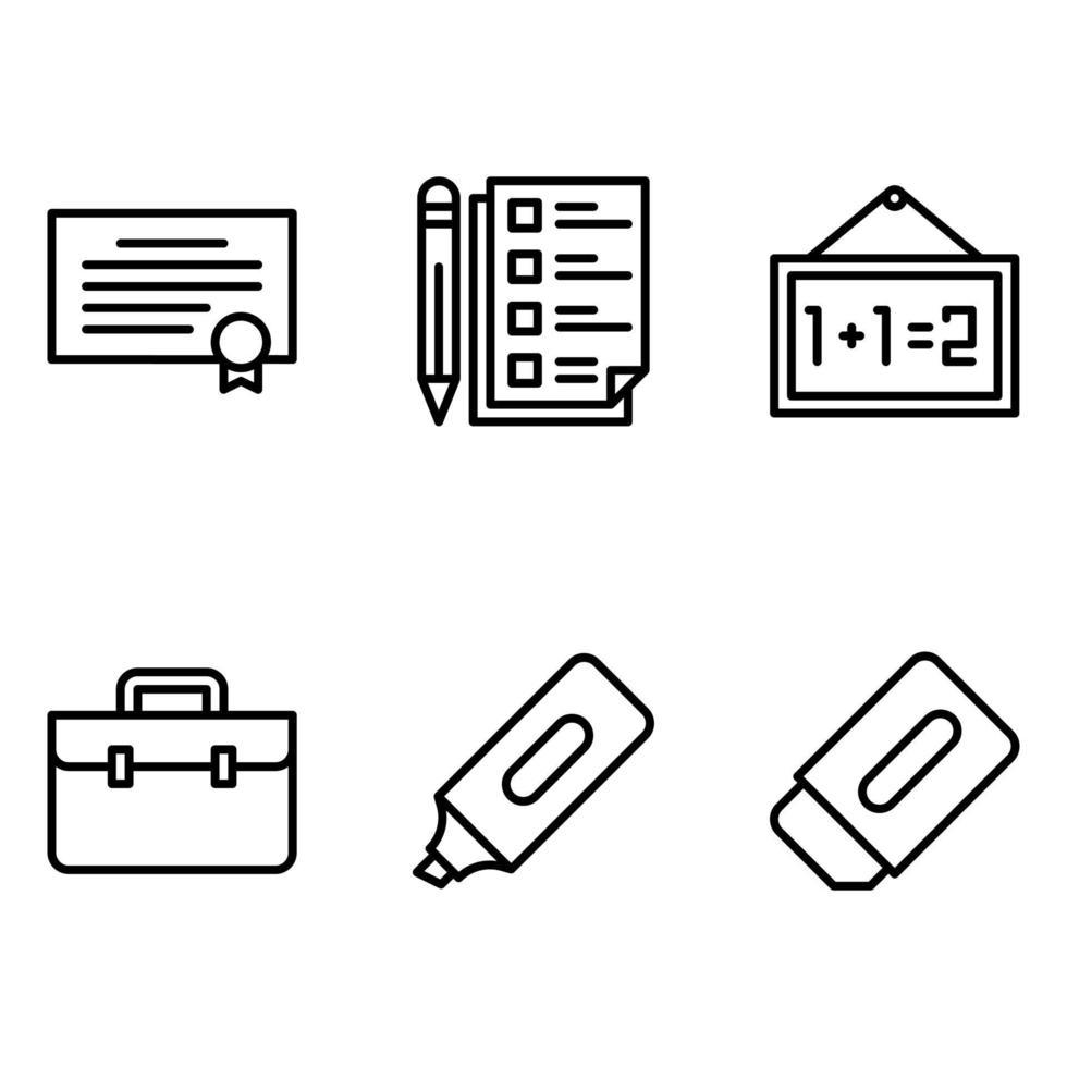 jeu d'icônes de matériel scolaire vecteur