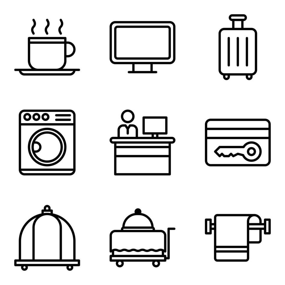 pack d'icônes de service hôtelier vecteur
