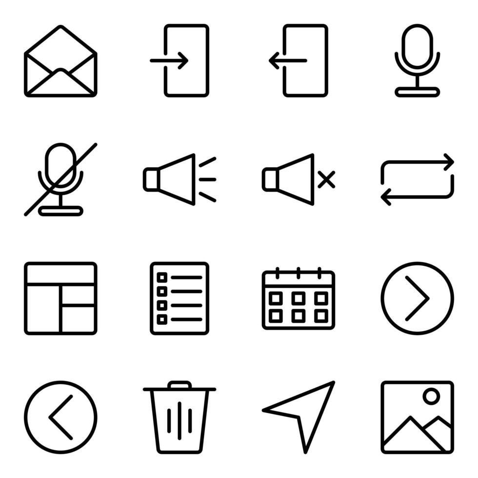 jeu d'icônes de boutons d'interface utilisateur vecteur