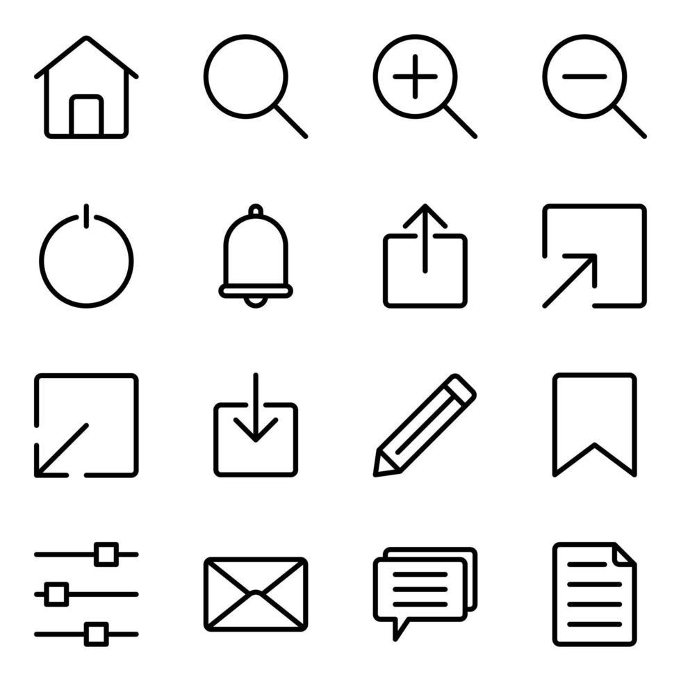 jeu d'icônes d'interface utilisateur Web vecteur