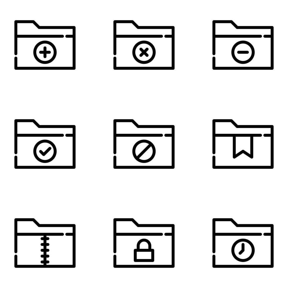 jeu d'icônes de fichiers et dossiers vecteur