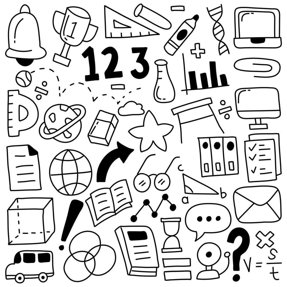 icônes de doodle éducation vecteur
