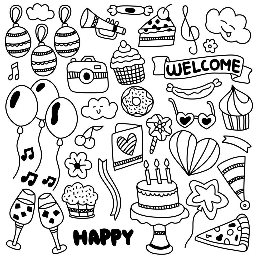 joyeux anniversaire ornement doodle vecteur