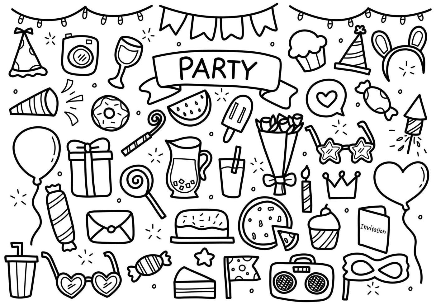collection de doodle de fête vecteur