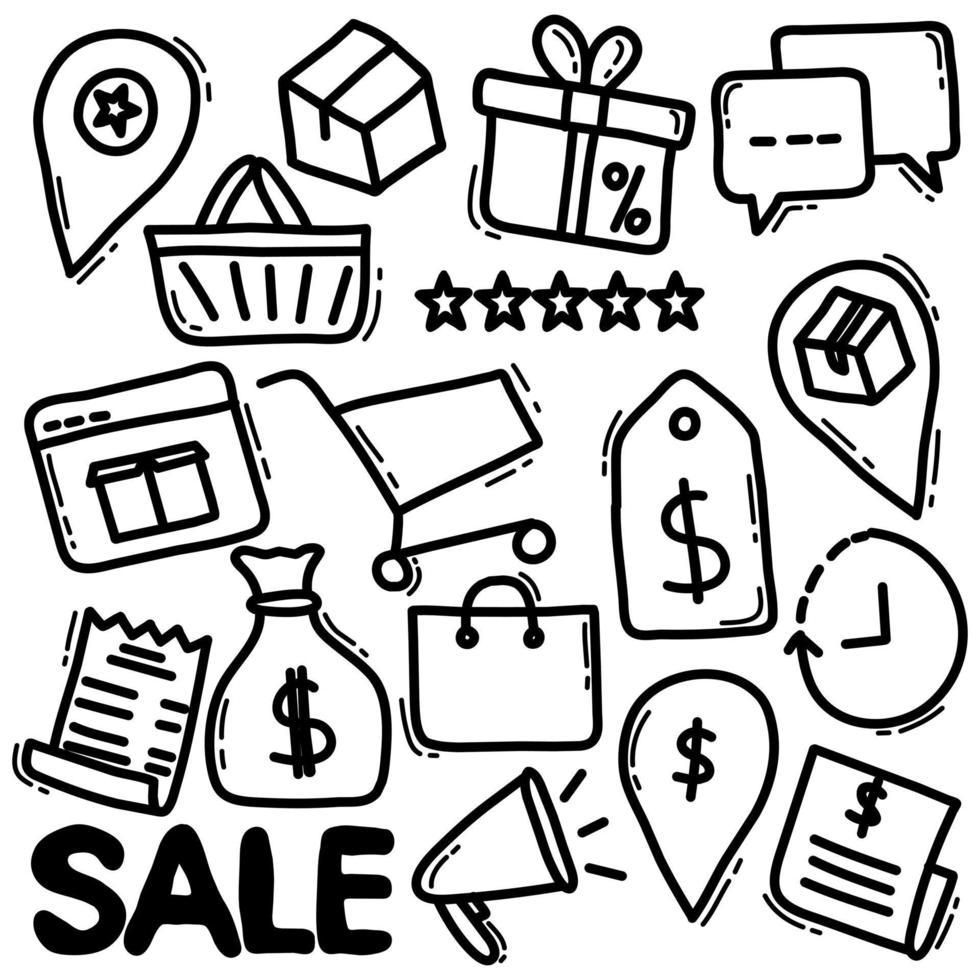 doodle d'épicerie en ligne vecteur
