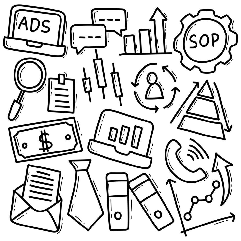 jeu d'icônes de marketing en ligne doodle vecteur
