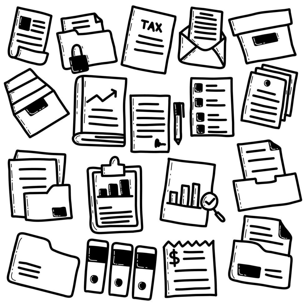 doodle ensemble de fichiers et documents vecteur