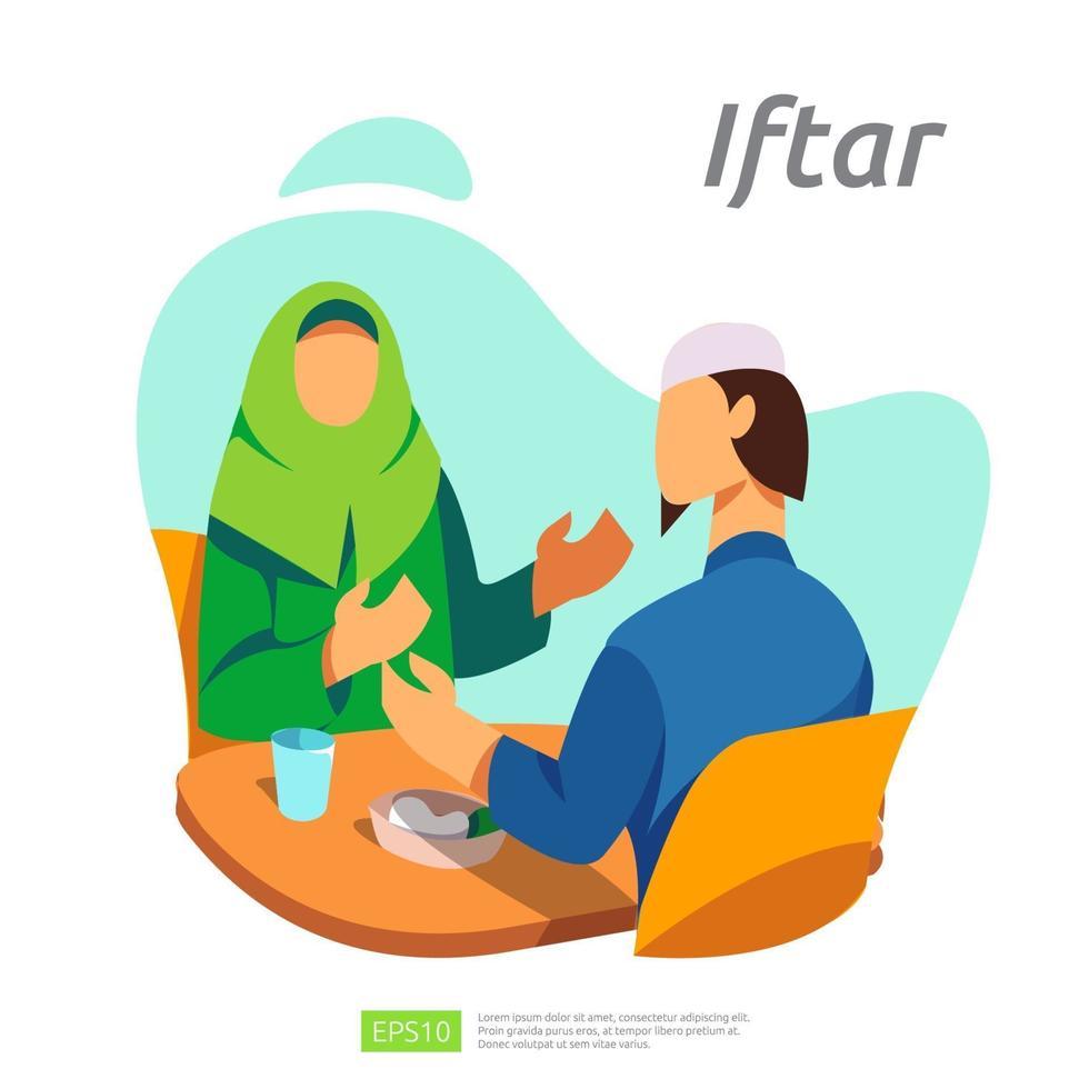 dîner en famille musulmane le ramadan kareem ou célébrant l'Aïd avec le caractère des gens. iftar manger après le concept de fête de jeûne. modèle de page de destination Web, bannière, présentation, médias sociaux ou imprimés vecteur