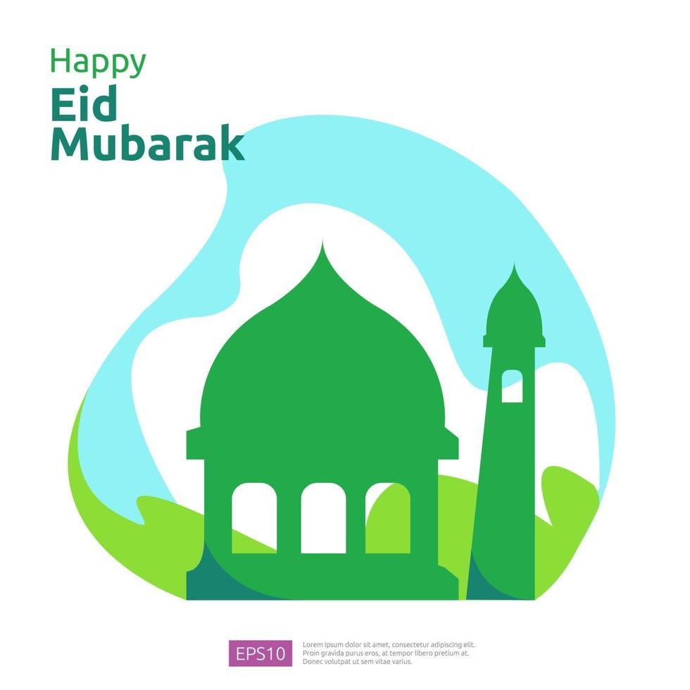 joyeux eid mubarak ou ramadan salutation avec le caractère des gens. concept d'illustration de conception islamique pour le modèle de page de destination Web, social, affiche, annonce, promotion, médias imprimés, bannière ou présentation vecteur