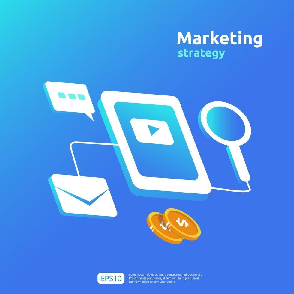 concept de stratégie de marketing de médias sociaux en ligne mobile numérique et affilié. référer un ami publicité contenu promotion stratégie vector illustration de bannière.