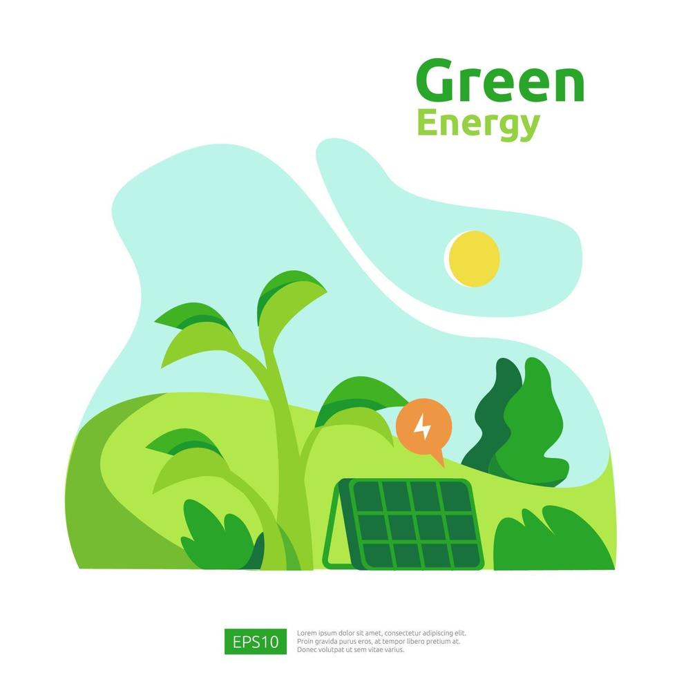 sources d'énergie verte propre avec panneau solaire solaire électrique renouvelable et éoliennes. concept environnemental pour le modèle de page de destination Web, la bannière, la présentation, les médias sociaux et imprimés vecteur