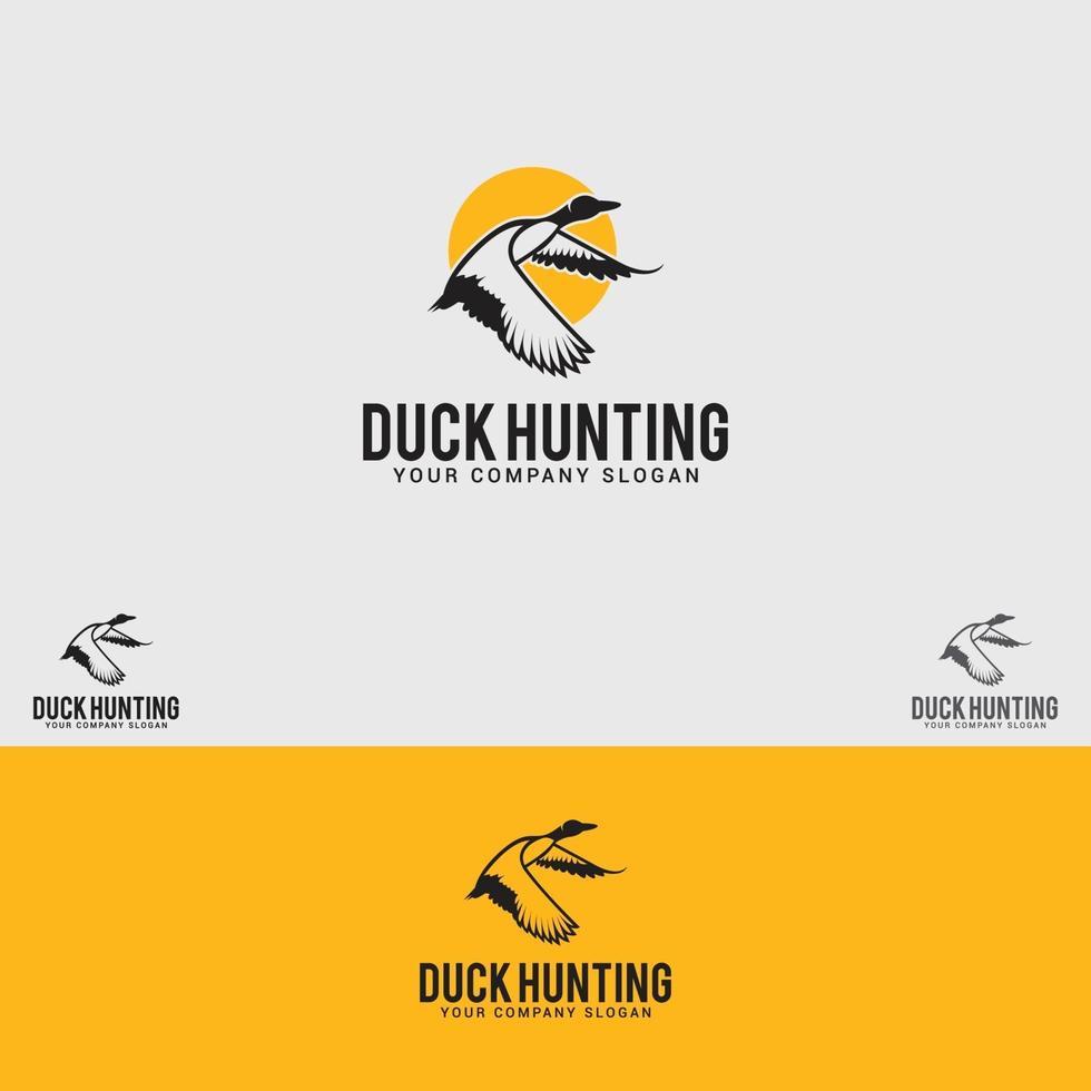 modèle de vecteur de conception de logo de chasse au canard