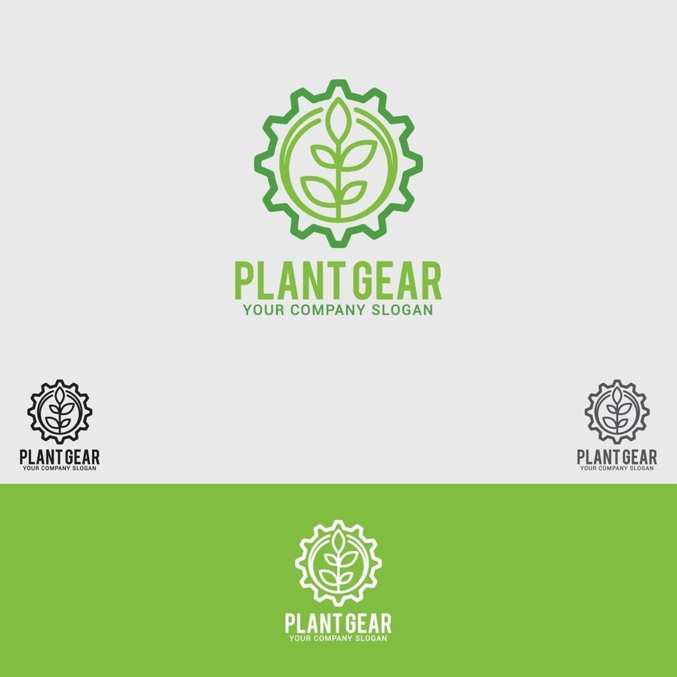 modèle de vecteur de conception de logo plante-gear