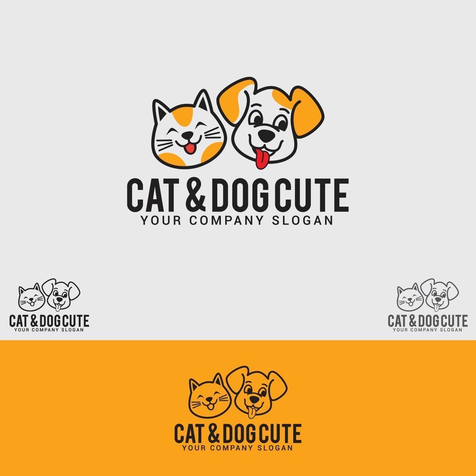 modèle de vecteur de conception de logo chat-chien-mignon