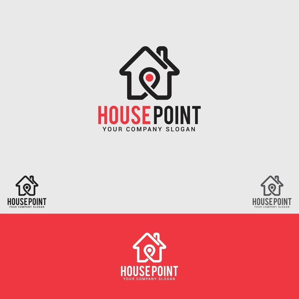 modèle de conception de logo de point de maison vecteur