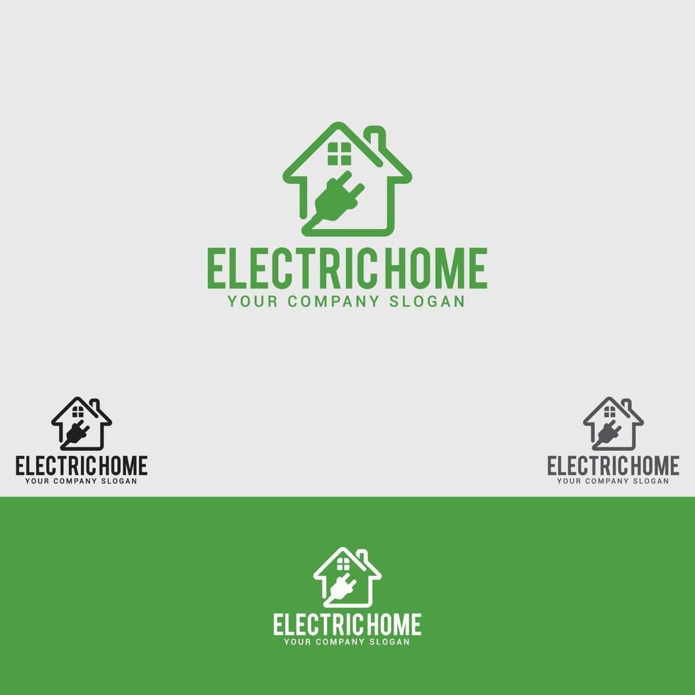 modèle de conception de logo de maison électrique vecteur